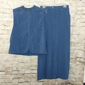Monterey by Koret Skirt Set  Size 12  Blue